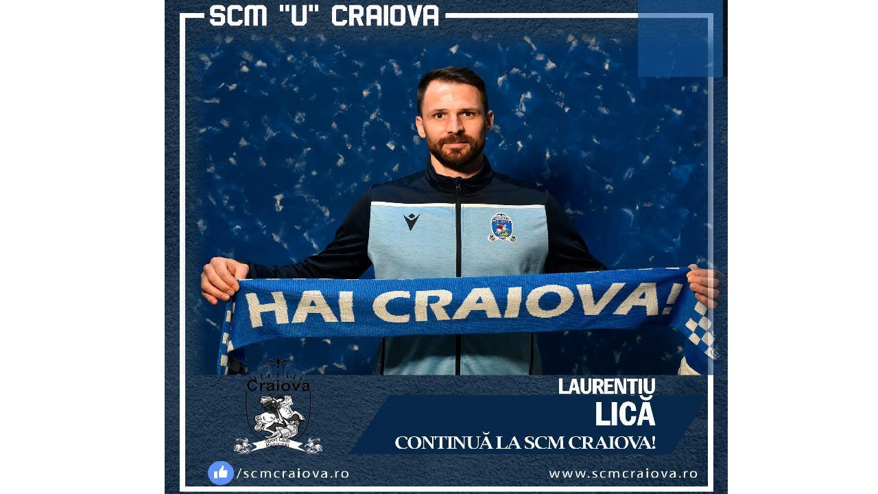 Laurențiu Lică și-a prelungit contractul cu S.C.M. Craiova.